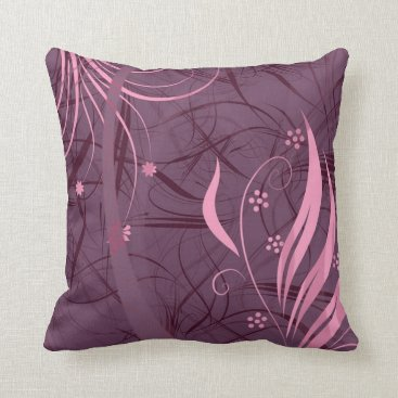Beach Themed Purple & Pink Vines Decorative Accent Pillow