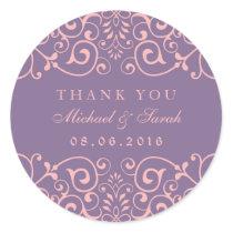 Purple Pink Vintage Swirl Flower Thank You Sticker