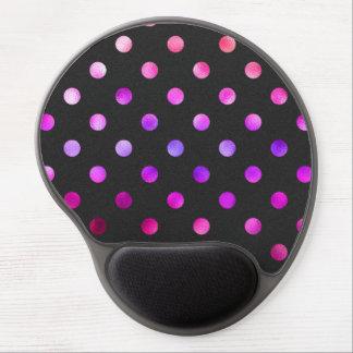 Purple Pink Violet Metallic Faux Foil Polka Dot Gel Mouse Pad