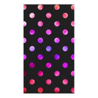 Purple Pink Violet Metallic Foil Polka Dot Black Double-Sided Standard Business Cards (Pack Of 100)