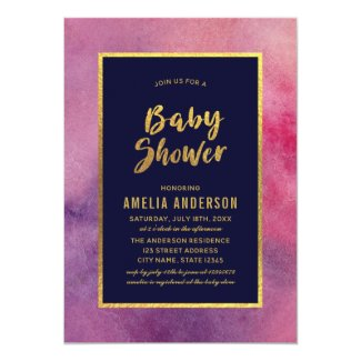 Purple Pink Watercolor and Faux Gold Baby Shower Card