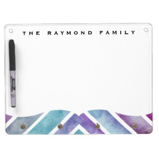 Purple Pink Watercolor Chevron Geometric Print Dry Erase Board With Keychain Holder