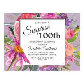 Purple Pink Watercolor Floral 100th Birthday Postcard