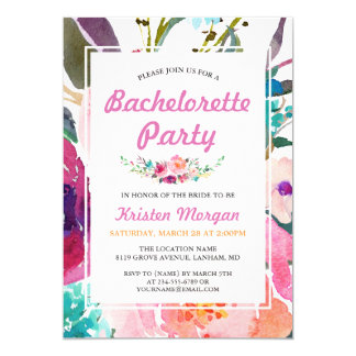 Purple Pink Watercolor Floral Bachelorette Party Invitation