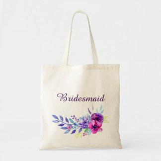 Purple & Pink Watercolor Floral Bridesmaid Tote Bag