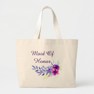 Purple & Pink Watercolor Floral Maid Of Honor Large Tote Bag