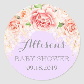 Purple Pink Watercolor Flowers Baby Shower Favor Classic Round Sticker