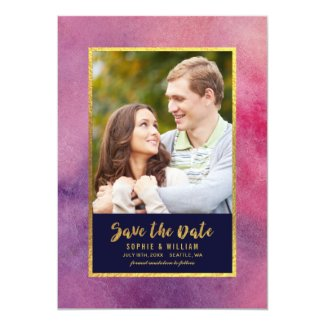 Purple Pink Watercolor & Gold Save the Date Photo Card