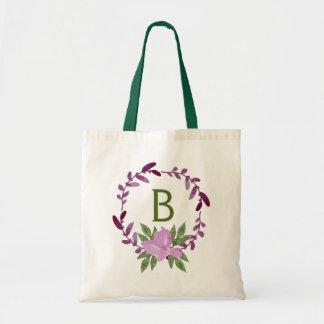 Purple & Pink Watercolor Wreath Tote Bag