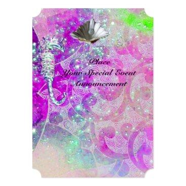 Beach Themed PURPLE PINK WAVES, SEAHORSES,SEASHELLS,BLUE RIBBON CARD