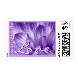 PURPLE & PINK Wedding Flower LOVE Stamp