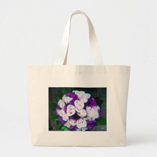 purple & pink wedding flowers tote bags