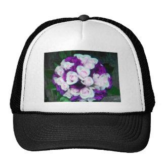 purple & pink wedding flowers hat