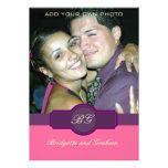 Purple Pink Wedding Invitations with Photo
