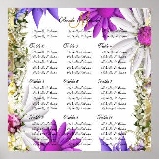 Purple pink wedding seating charts print