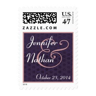 Purple Pink White Bride and Groom Wedding Stamp