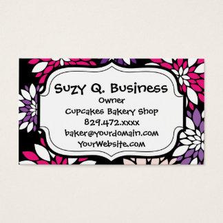 Purple Pink White Flower Art on Black Business Card