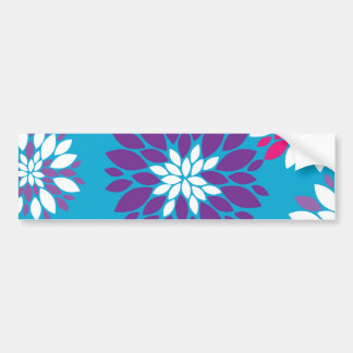 Purple Pink White Flower Art on Blue Bumper Sticker