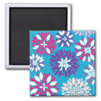 Purple Pink White Flower Art on Blue Magnet