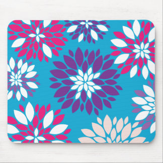 Purple Pink White Flower Art on Blue Mouse Pad