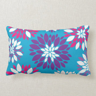 Purple Pink White Flower Art on Blue Throw Pillows