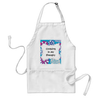 Purple Pink White Flower Art on Teal Blue Aprons