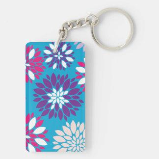 Purple Pink White Flower Art on Teal Blue Keychain