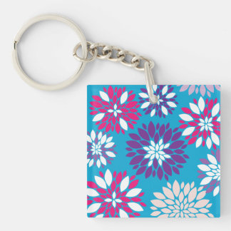 Purple Pink White Flower Art on Teal Blue Keychain