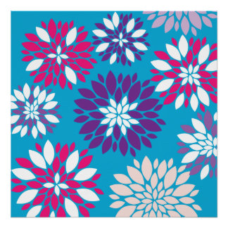 Purple Pink White Flower Art on Teal Blue Poster