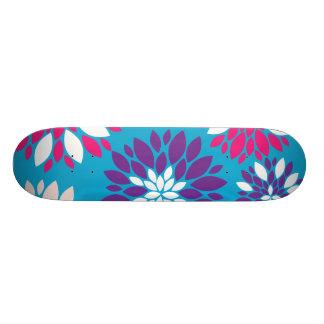 Purple Pink White Flower Art on Teal Blue Skateboard