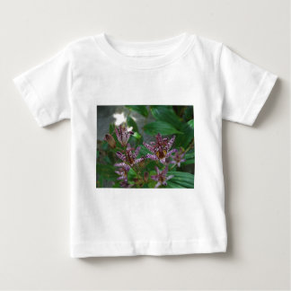 Purple pink white striped orchid like flower lilly baby T-Shirt