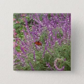Purple & Pink wildflower field of butterflies Pinback Button