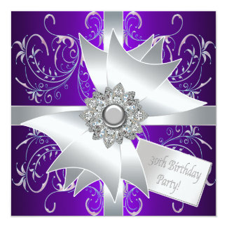 Purple Pink Womans 30th Birthday Party 5.25x5.25 Square Paper Invitation Card