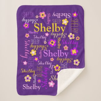 Purple pink yellow flowers girl Shelby custom name Sherpa Blanket
