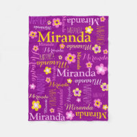 Purple pink yellow girls Miranda name blanket