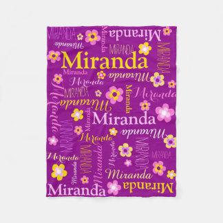 Purple pink yellow girls Miranda name blanket