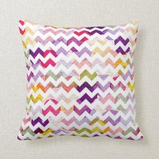 Purple, Pink, Yellow Rainbow Chevron Pillow