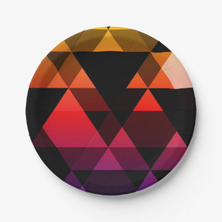 Purple, Pink & Yellow Triangle Design Paper Plate