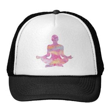 colourarts Purple pink yogi meditating trucker hat