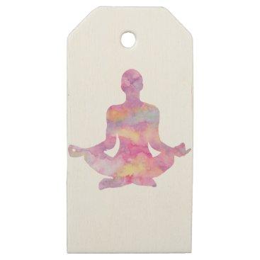 colourarts Purple pink yogi meditating wooden gift tags
