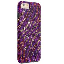 Purple Pink Zebra Bling Tough iPhone 6 Plus Case