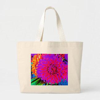 purple, pinks, orange dahlia in mason jars tote bag