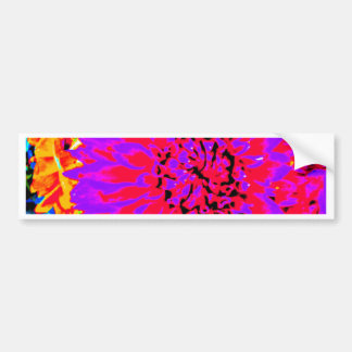 purple, pinks, orange dahlia in mason jars bumper sticker