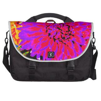 purple, pinks, orange dahlia in mason jars laptop bag