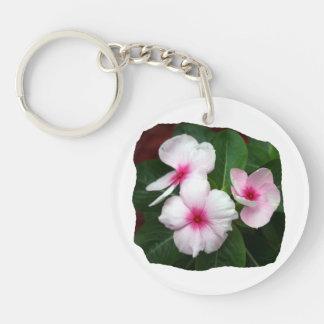 Purple Pinwheel Flowers Photograph Double-Sided Round Acrylic Keychain