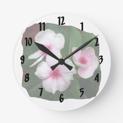 Purple Pinwheel Flowers Photograph Round Clock
