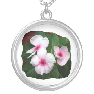 Purple Pinwheel Flowers Photograph Round Pendant Necklace