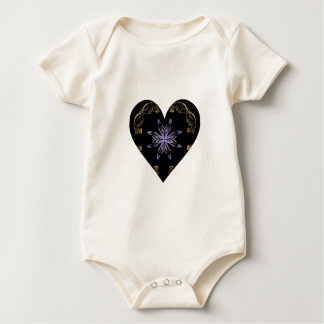 Purple Pinwheel Framed with Gold Heart Baby Bodysuit