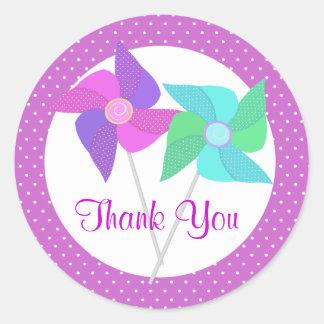 Purple Pinwheels and Polka Dots Classic Round Sticker
