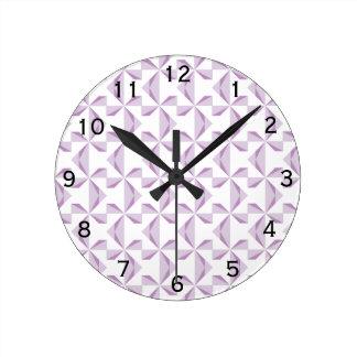 Purple Pinwheels Round Clock